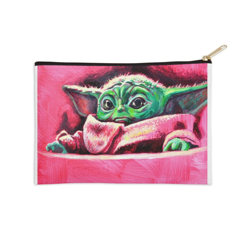 baby yoda Accessories Zip Pouch by paintings by Seamus Wray