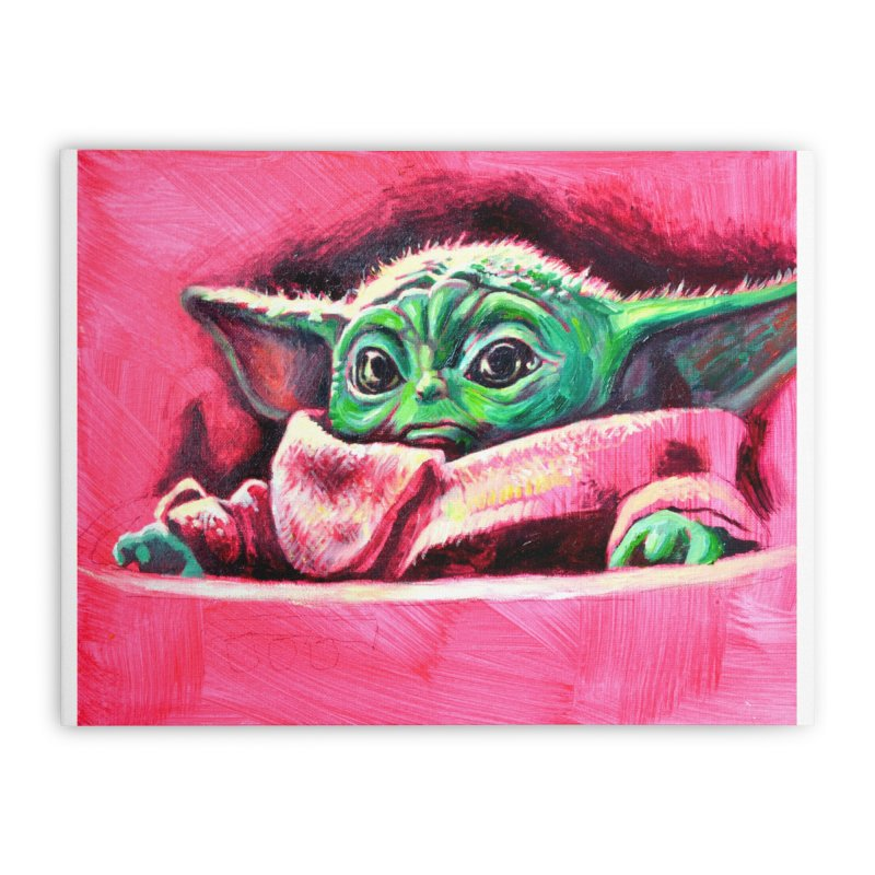 baby yoda Home Stretched Canvas by paintings by Seamus Wray