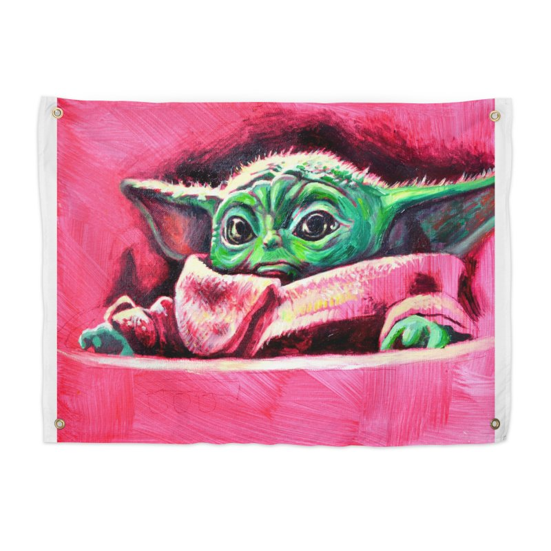 baby yoda Home Tapestry by paintings by Seamus Wray