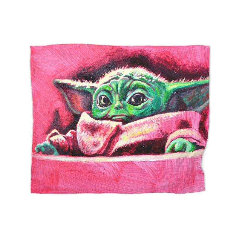 baby yoda Home Fleece Blanket Blanket by paintings by Seamus Wray