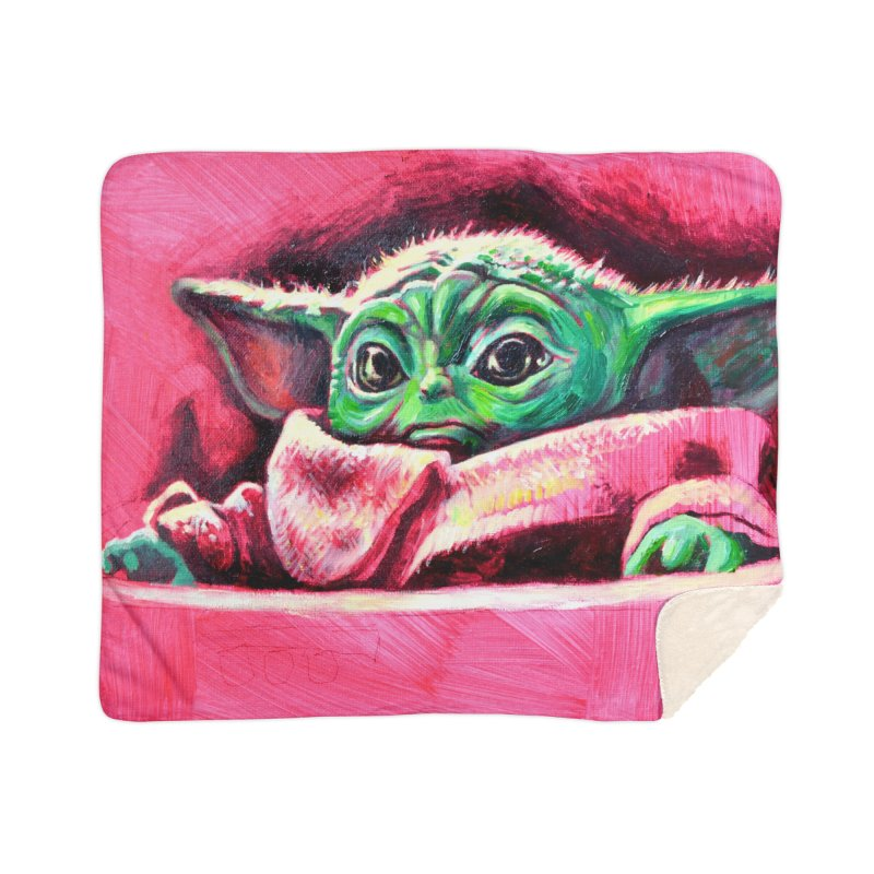 baby yoda Home Sherpa Blanket Blanket by paintings by Seamus Wray
