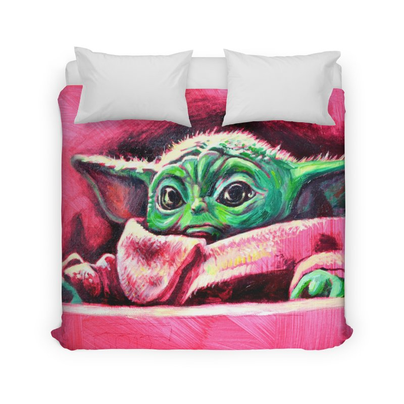 baby yoda Home Duvet by paintings by Seamus Wray