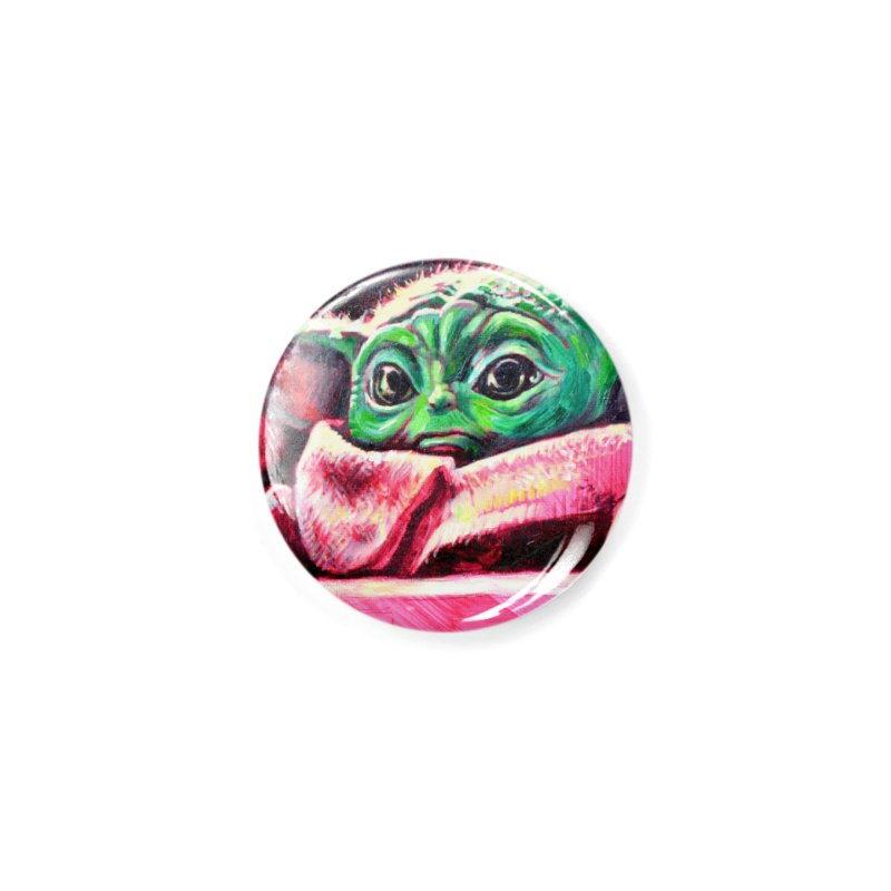 baby yoda Accessories Button by paintings by Seamus Wray
