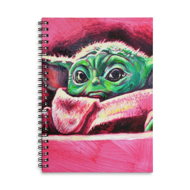 baby yoda Accessories Lined Spiral Notebook by paintings by Seamus Wray