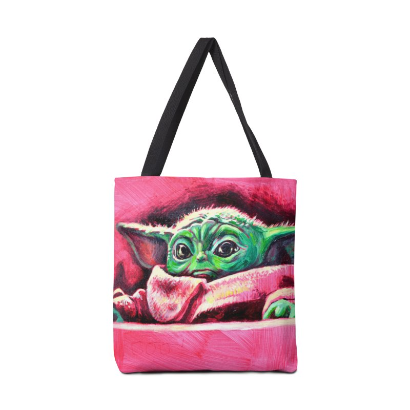 baby yoda Accessories Tote Bag Bag by paintings by Seamus Wray