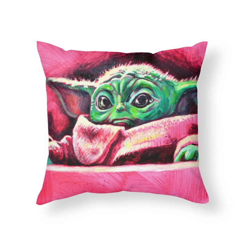 baby yoda Home Throw Pillow by paintings by Seamus Wray