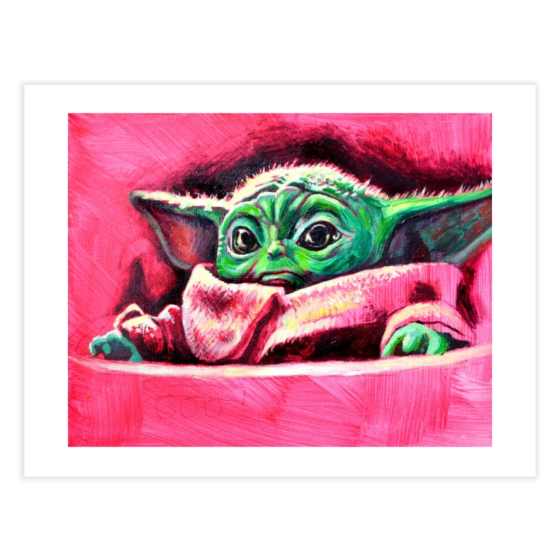 baby yoda Home Fine Art Print by paintings by Seamus Wray