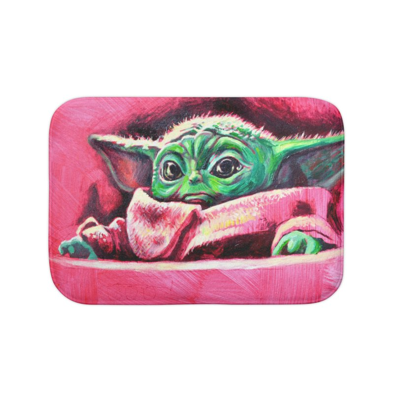 baby yoda Home Bath Mat by paintings by Seamus Wray