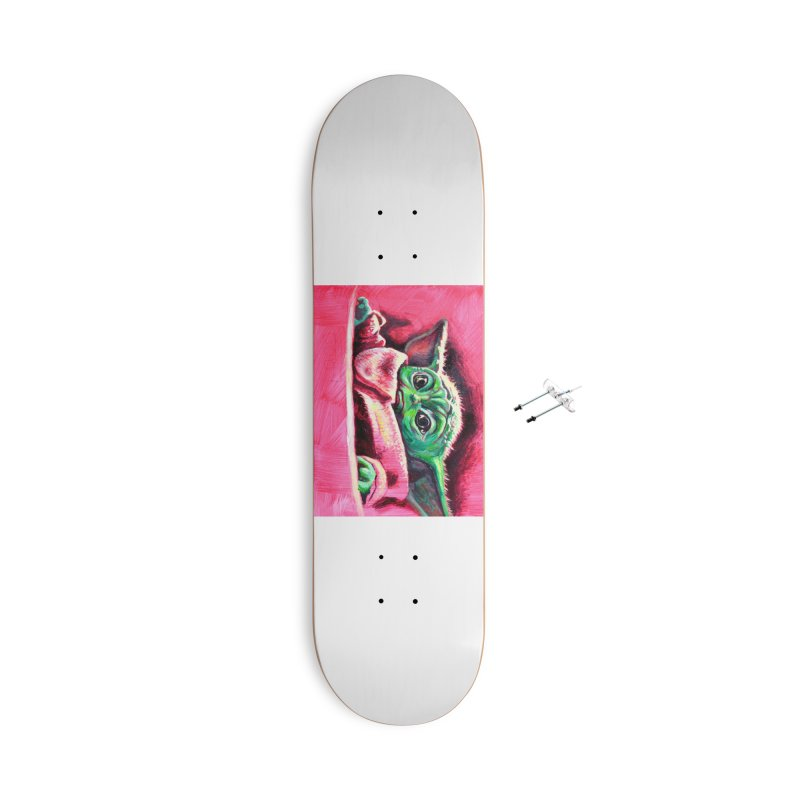 baby yoda Accessories With Hanging Hardware Skateboard by paintings by Seamus Wray