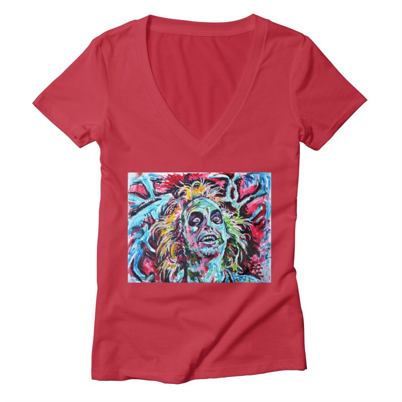 beetlejuice Women's Deep V-Neck V-Neck by paintings by Seamus Wray
