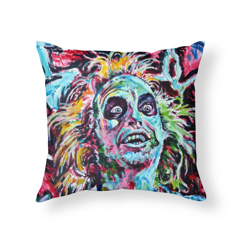 beetlejuice Home Throw Pillow by paintings by Seamus Wray