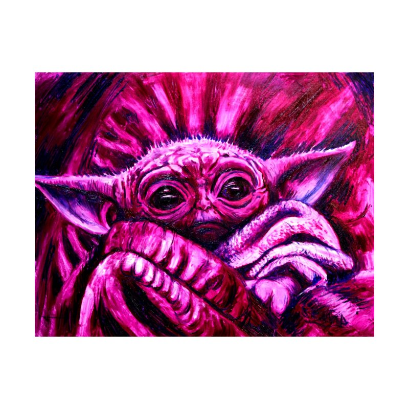 pink yoda Men's T-Shirt by paintings by Seamus Wray