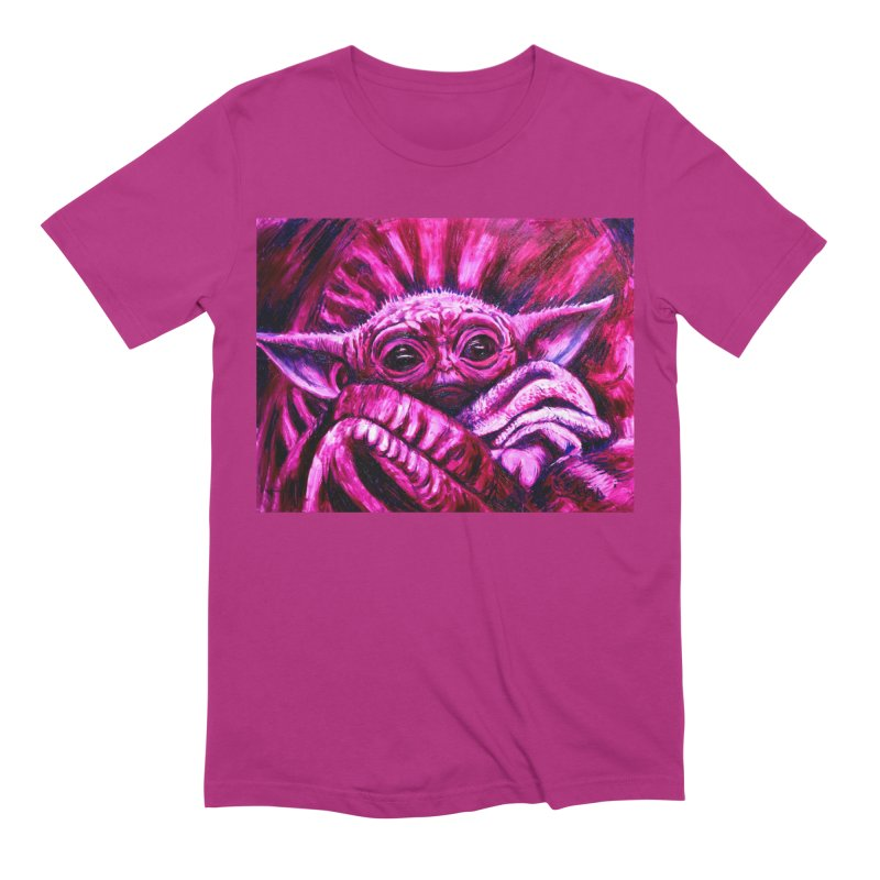 pink yoda Men's Extra Soft T-Shirt by paintings by Seamus Wray