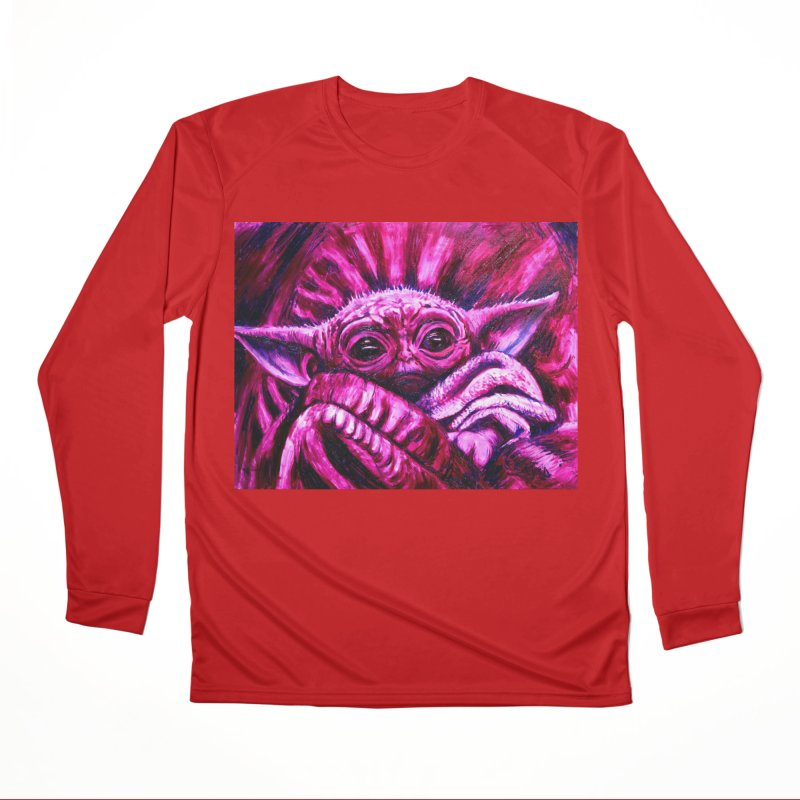 pink yoda Men's Performance Longsleeve T-Shirt by paintings by Seamus Wray