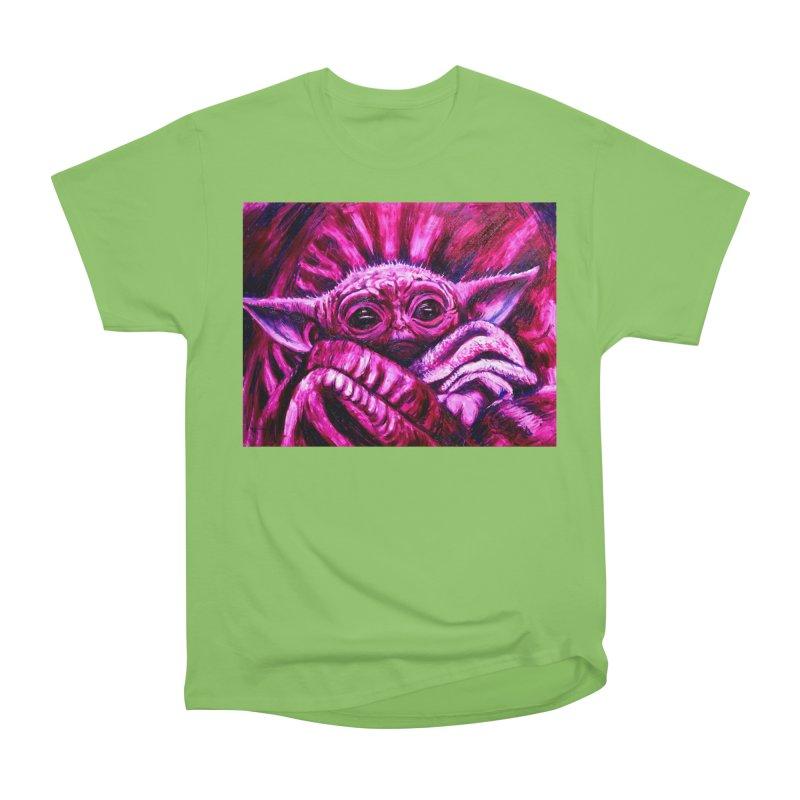 pink yoda Women's Heavyweight Unisex T-Shirt by paintings by Seamus Wray