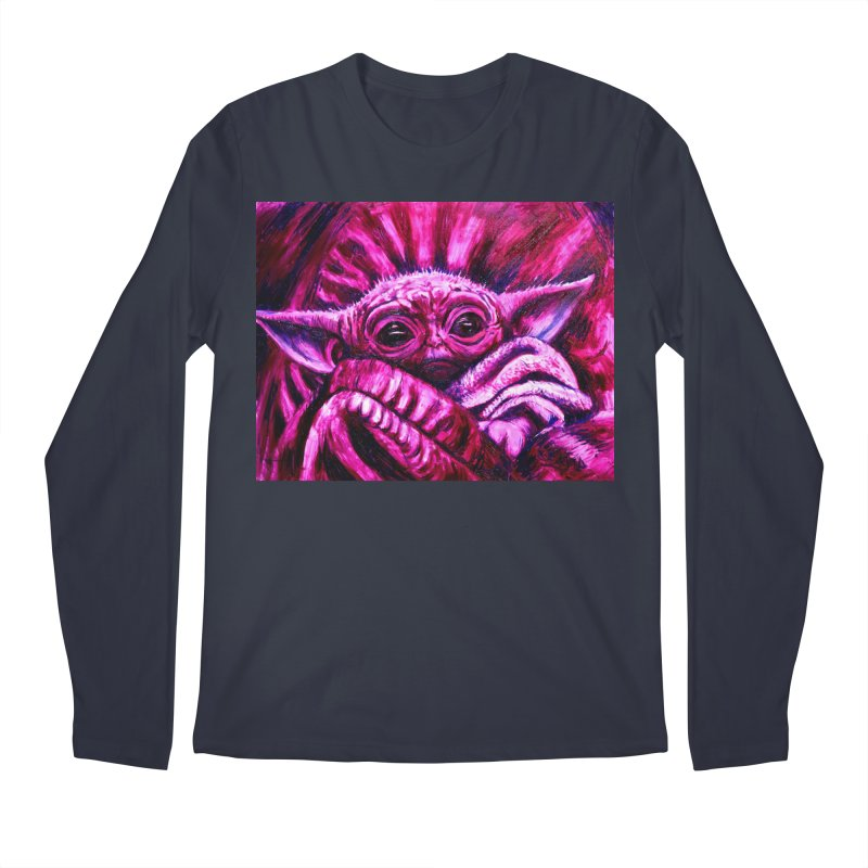 pink yoda Men's Regular Longsleeve T-Shirt by paintings by Seamus Wray