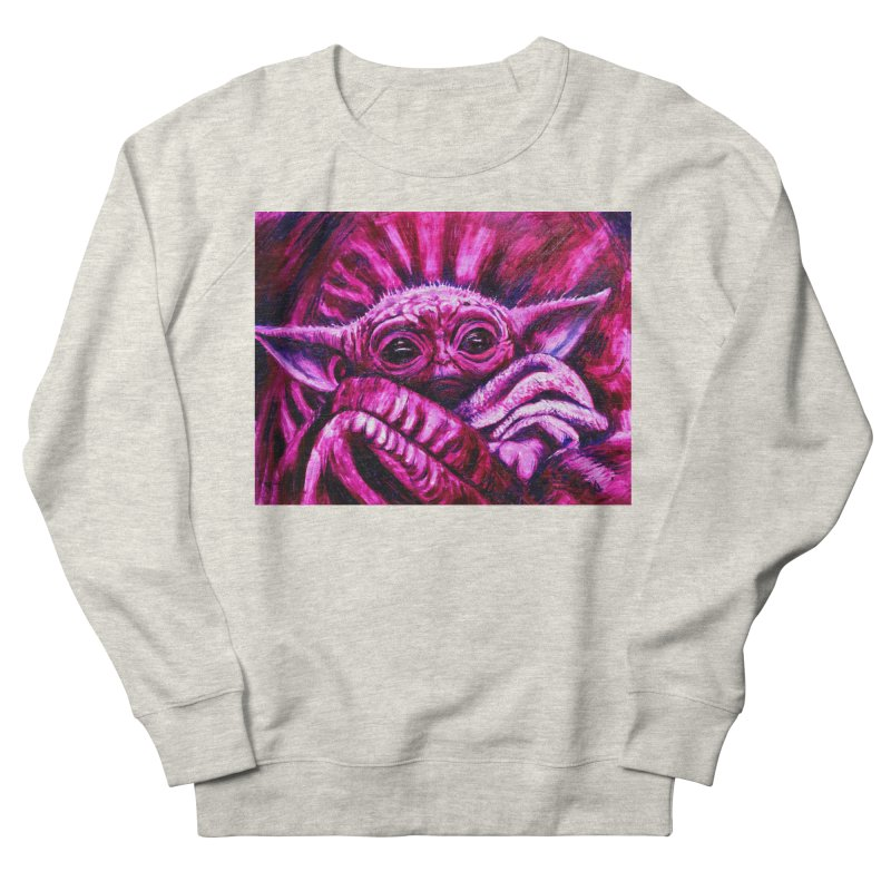 pink yoda Women's French Terry Sweatshirt by paintings by Seamus Wray