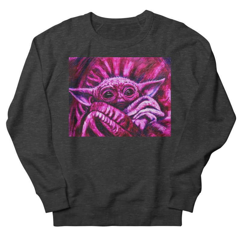 pink yoda Men's French Terry Sweatshirt by paintings by Seamus Wray