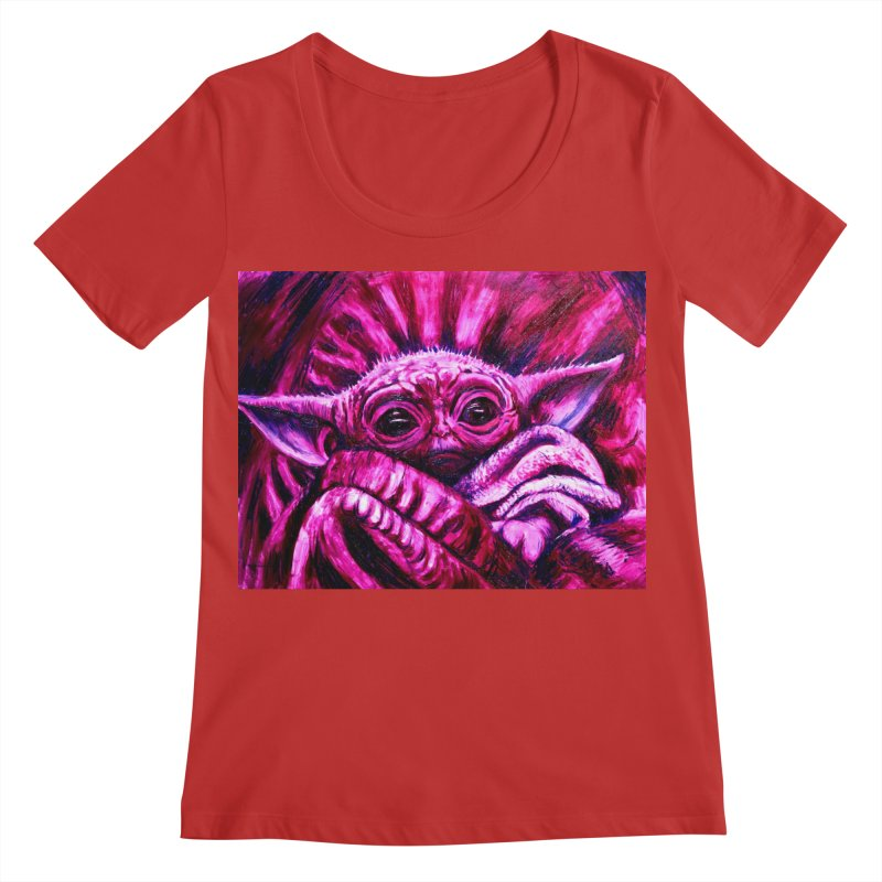 pink yoda Women's Regular Scoop Neck by paintings by Seamus Wray