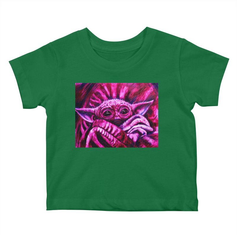 pink yoda Kids Baby T-Shirt by paintings by Seamus Wray