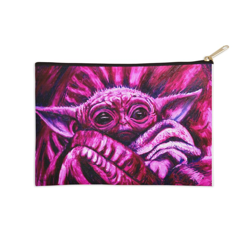 pink yoda Accessories Zip Pouch by paintings by Seamus Wray