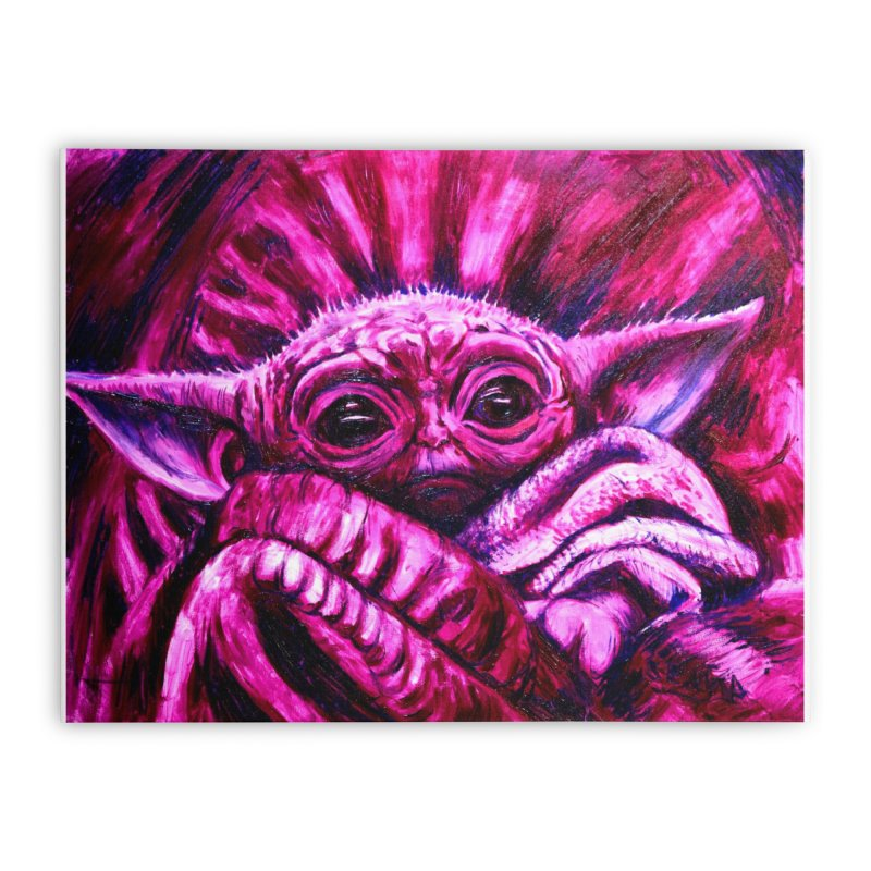 pink yoda Home Stretched Canvas by paintings by Seamus Wray