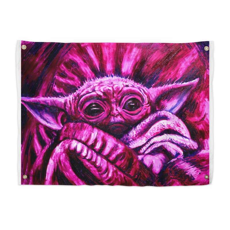pink yoda Home Tapestry by paintings by Seamus Wray