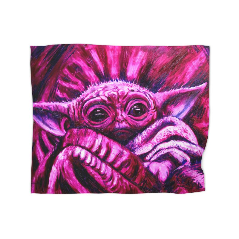 pink yoda Home Fleece Blanket Blanket by paintings by Seamus Wray