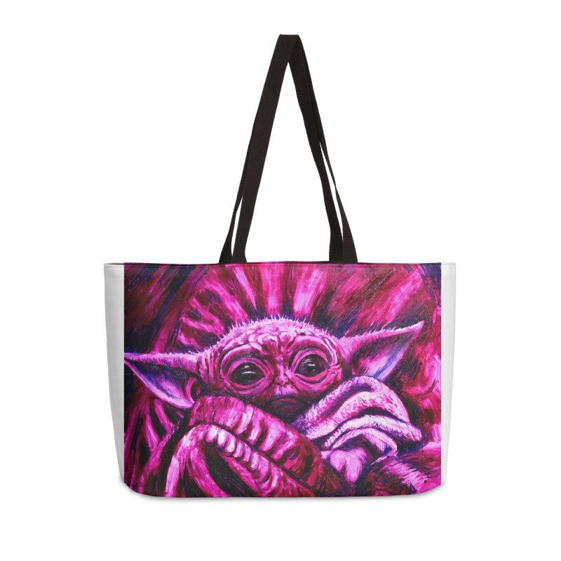 pink yoda Accessories Weekender Bag Bag by paintings by Seamus Wray