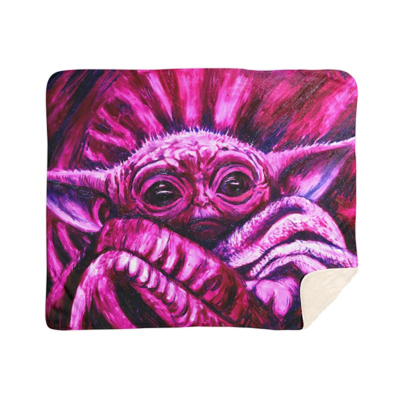 pink yoda Home Sherpa Blanket Blanket by paintings by Seamus Wray