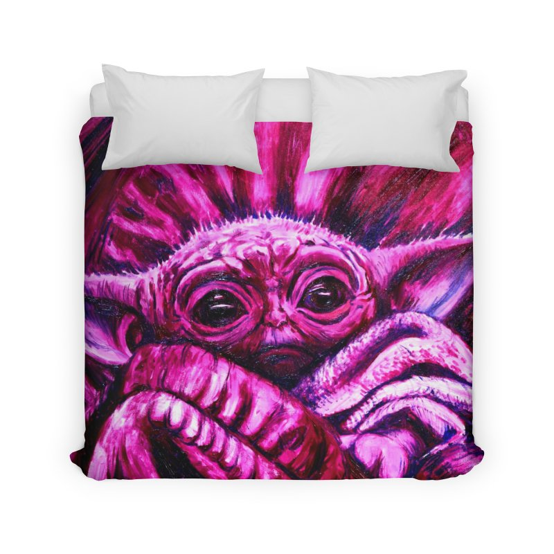 pink yoda Home Duvet by paintings by Seamus Wray