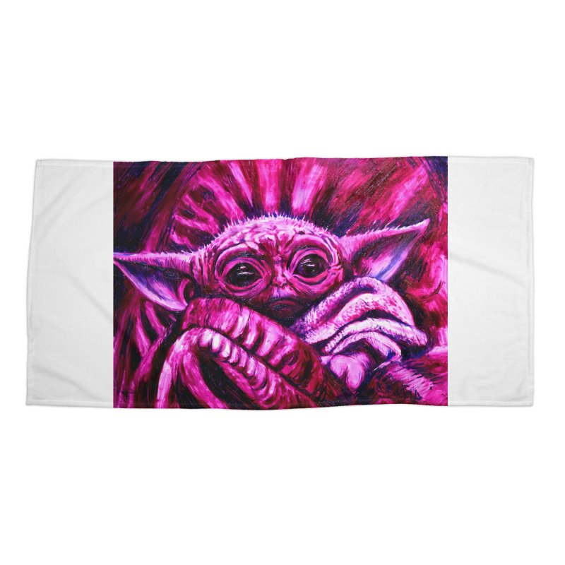 pink yoda Accessories Beach Towel by paintings by Seamus Wray