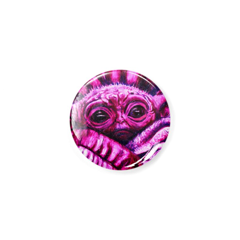 pink yoda Accessories Button by paintings by Seamus Wray