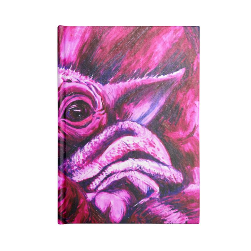 pink yoda Accessories Blank Journal Notebook by paintings by Seamus Wray
