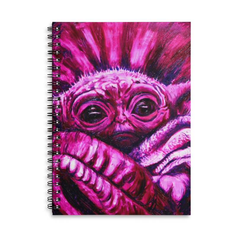 pink yoda Accessories Lined Spiral Notebook by paintings by Seamus Wray