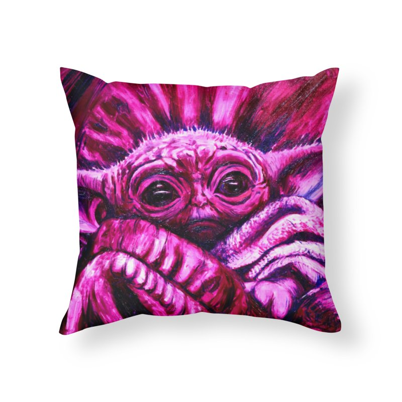 pink yoda Home Throw Pillow by paintings by Seamus Wray