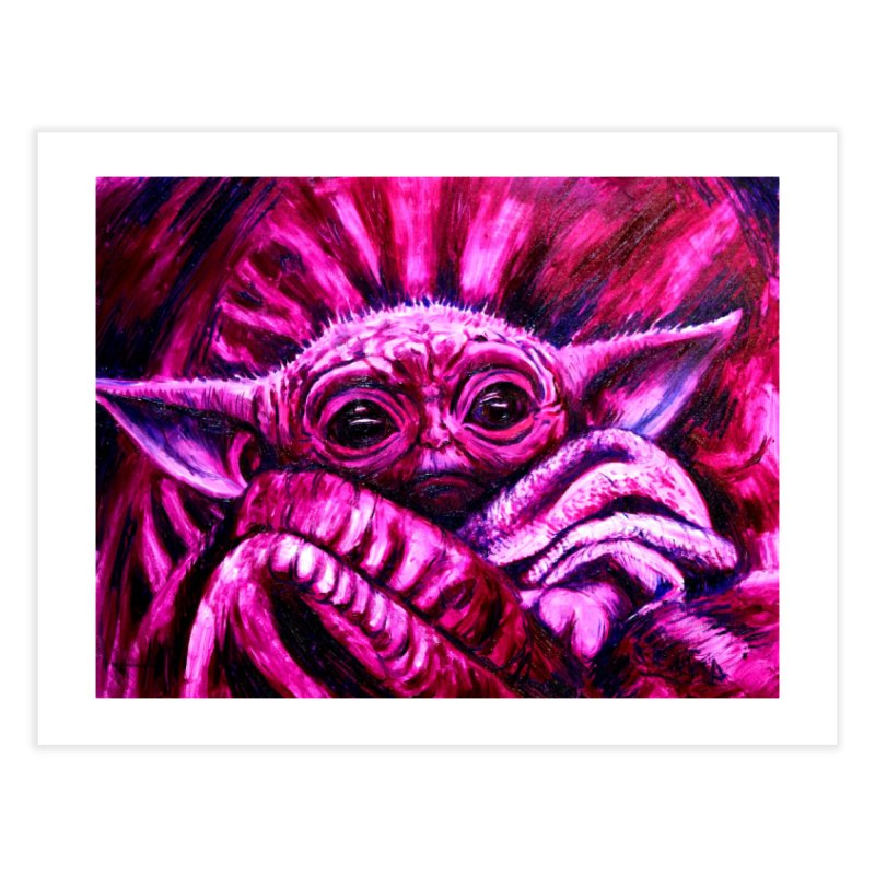 pink yoda Home Fine Art Print by paintings by Seamus Wray