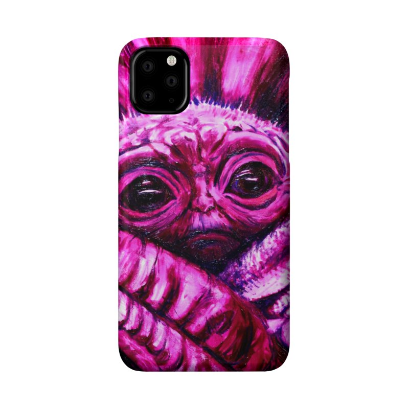 pink yoda Accessories Phone Case by paintings by Seamus Wray