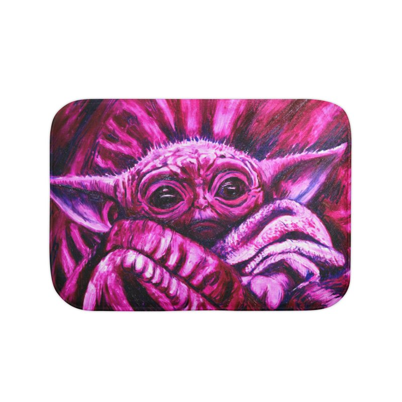 pink yoda Home Bath Mat by paintings by Seamus Wray
