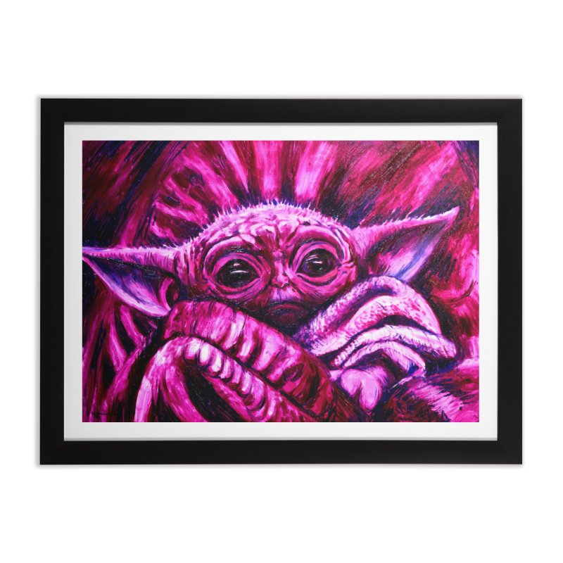 pink yoda Home Framed Fine Art Print by paintings by Seamus Wray