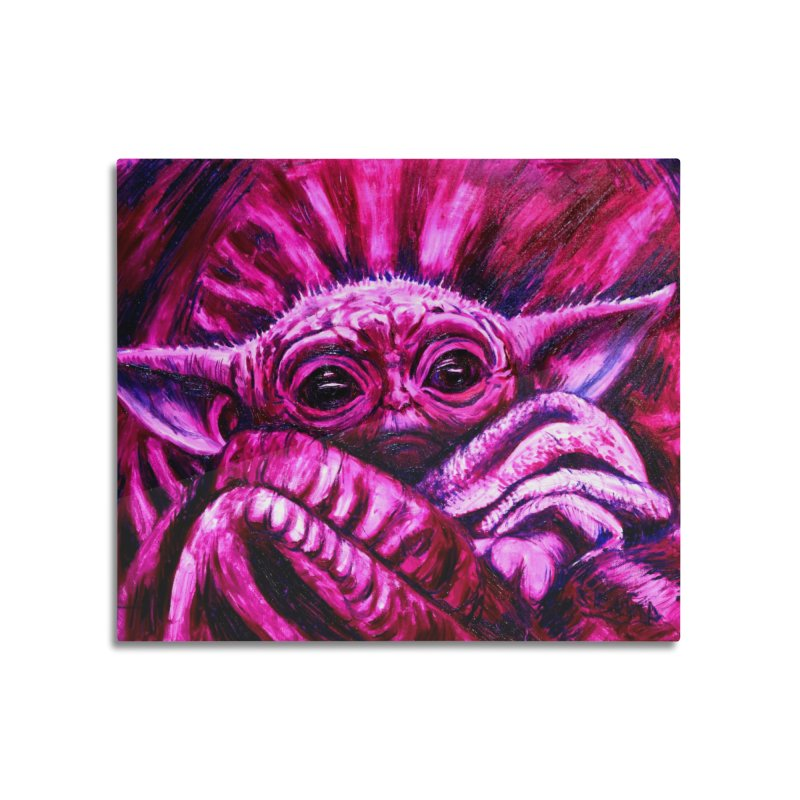 pink yoda Home Mounted Acrylic Print by paintings by Seamus Wray