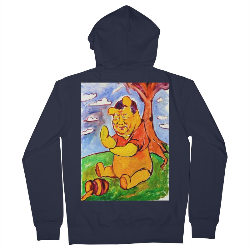 pooh Men's French Terry Zip-Up Hoody by paintings by Seamus Wray