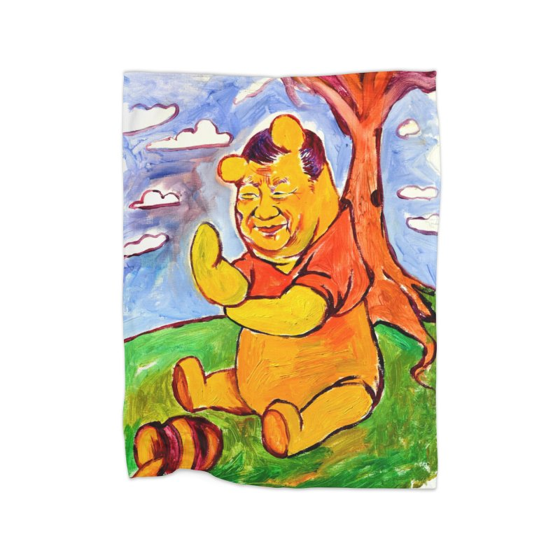 pooh Home Fleece Blanket Blanket by paintings by Seamus Wray