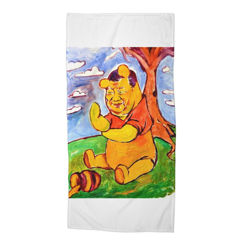 pooh Accessories Beach Towel by paintings by Seamus Wray