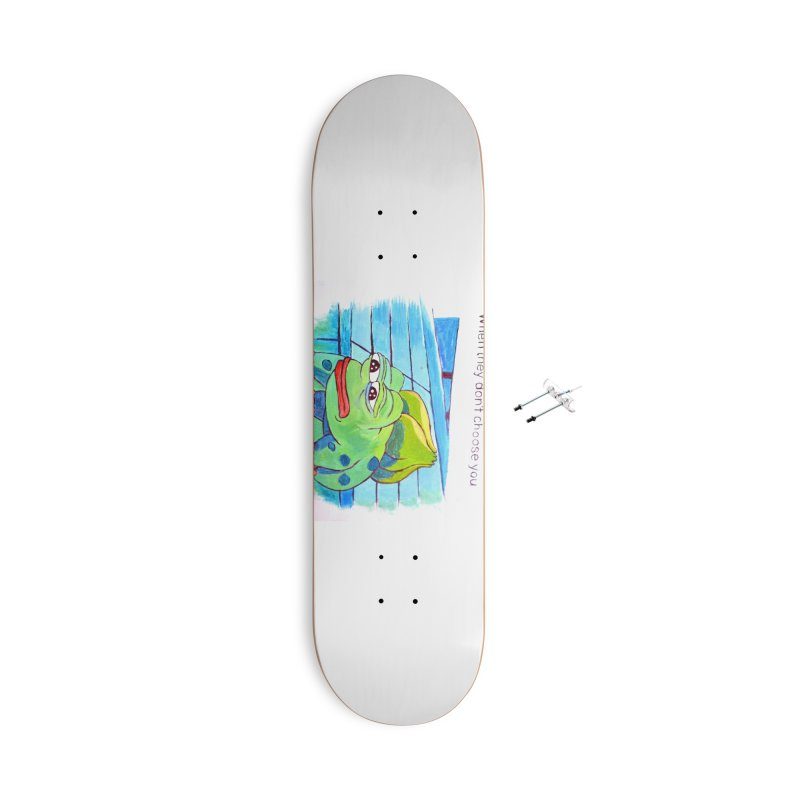 "pepesaur Accessories With Hanging Hardware Skateboard by Art Prints by Seama available under ""Home"""