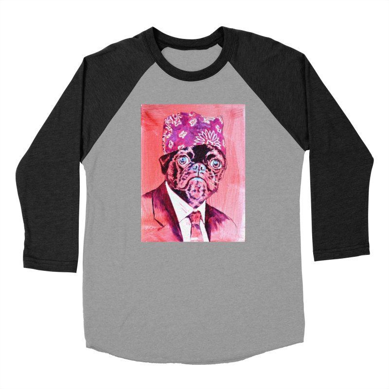 "pug mike Women's Baseball Triblend Longsleeve T-Shirt by Art Prints by Seama available under ""Home"""