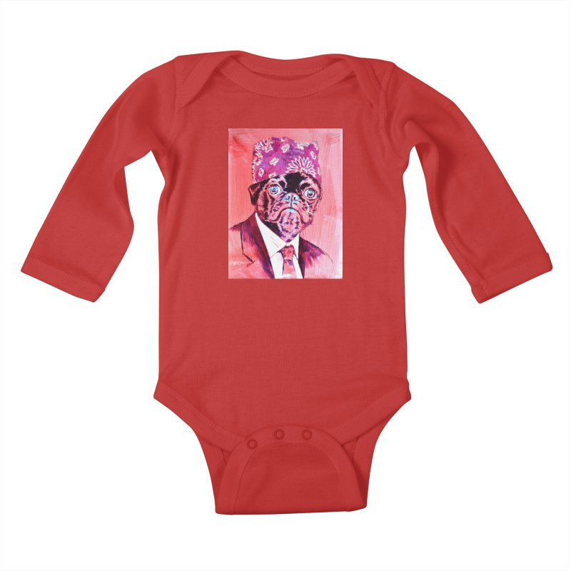 "pug mike Kids Baby Longsleeve Bodysuit by Art Prints by Seama available under ""Home"""
