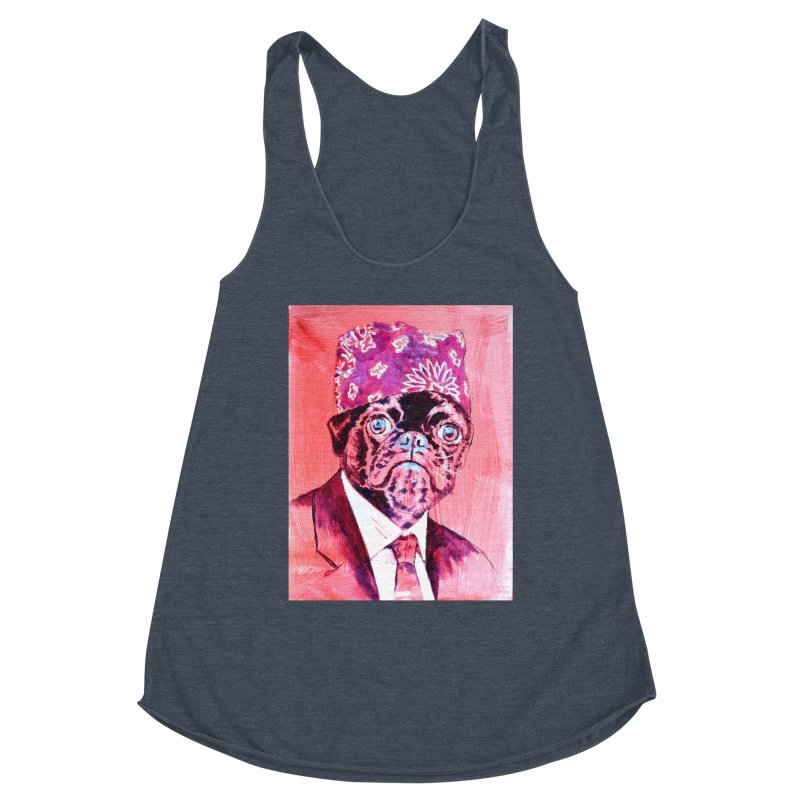 "pug mike Women's Racerback Triblend Tank by Art Prints by Seama available under ""Home"""