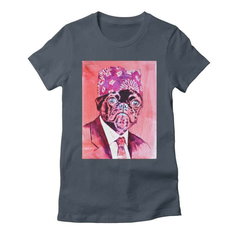 """pug mike Women's Fitted T-Shirt by Art Prints by Seama available under """"Home"""""""