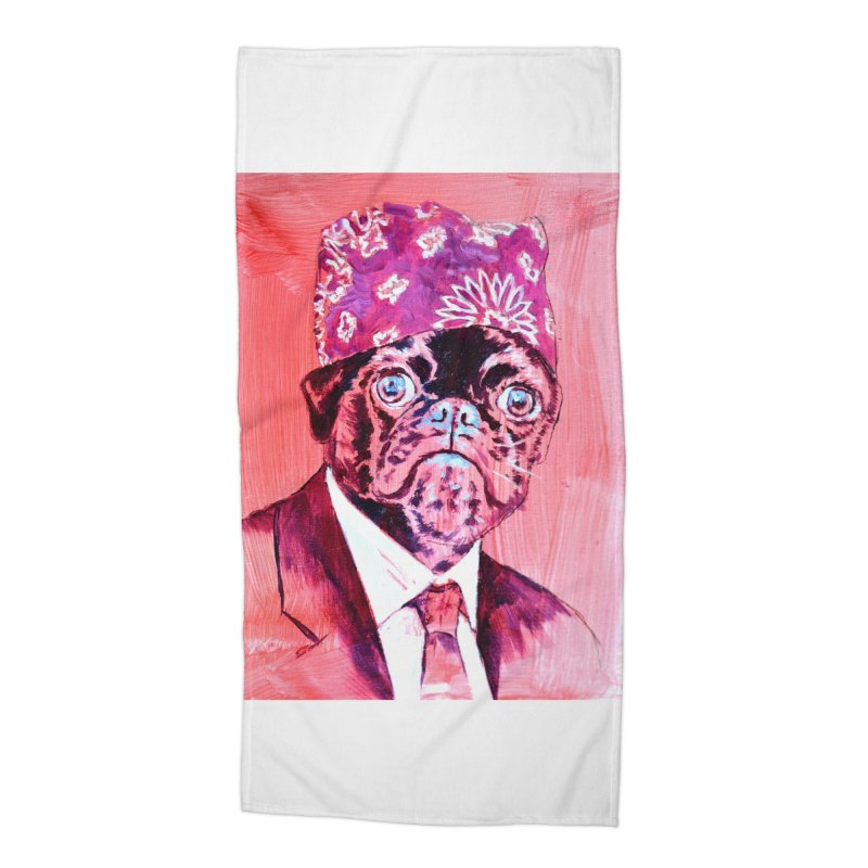 """pug mike Accessories Beach Towel by Art Prints by Seamus Wray available under """"Home"""""""